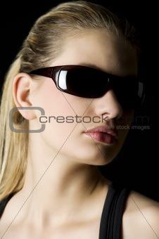 blond girl on black