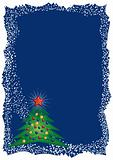 Christmas tree frame on blue background