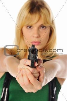 blonde with a gun