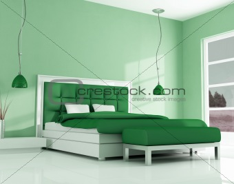 green modern bedroom