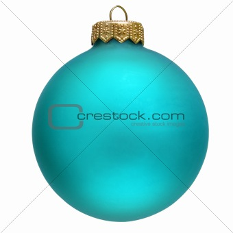 aquamarin christmas ornament . Isolated over white.