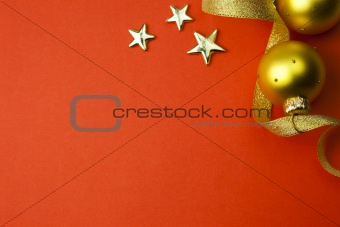 background with stars, ribbon and bauble