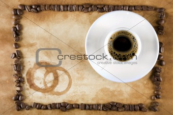 Grunge Coffee Frame with Coffee