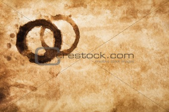 Old grungy paper with coffee stains