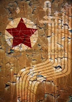 Grunge illustration with red star and white arrows