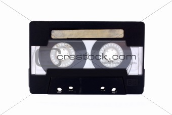 Black-transparent Compact Cassette isolated on white