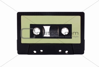 Green - Black Compact Cassette isolated on white