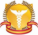 Caduceus Medical Symbol - Gold with Ribbon