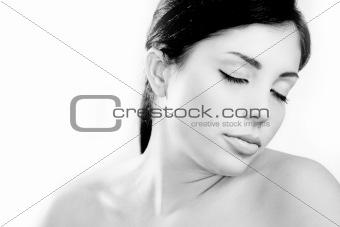 Beautiful young skin care model