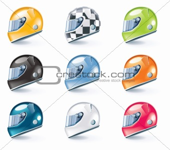 Vector racing helmets icons