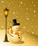 Snowman stands under a lamp on a snowy evening