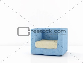 blue chair on a white