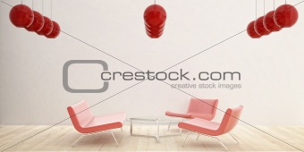 3 red Chair