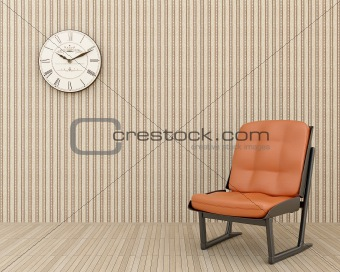 clock on the wall and chair