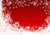 Christmas red background with snowflakes.