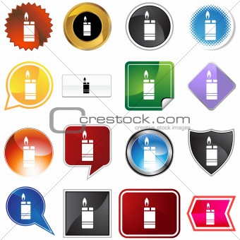 Cigarette Lighter Icon Set