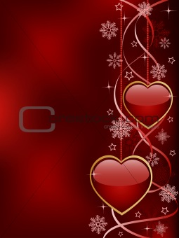 Abstract background with a glossy hearts.