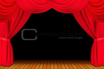 Stage with opened red curtain