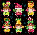 Cute christmas girls - little Santa helpers. Set 1