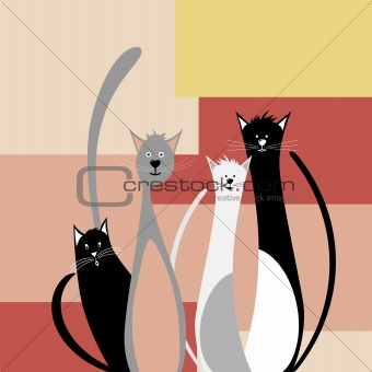 Four funny cats