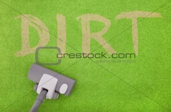vacuuming dirt off a green carpet