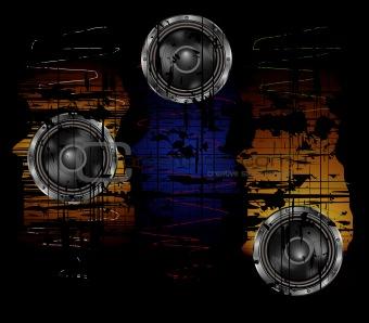 grunge background with speaker