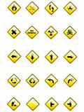 Vector set of yellow signs