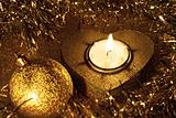 Christmas ball and candle (golden)