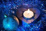 Christmas ball and candle (blue)