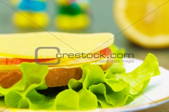 Healthy sandwich with cheese, salad and apple