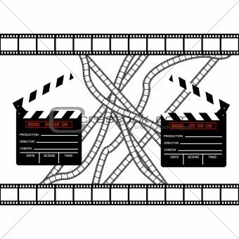 cinemas clapper with film frame