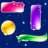 Collection of glossy, brightly colored banners