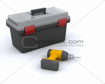 power drill and toolbox