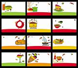 15 colorful food cards - vector set.