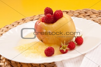 apple and raspberries