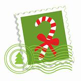Postage stamp with candy cane