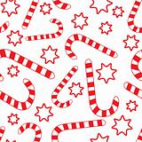 Seamless pattern with candy canes and stars