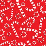 Seamless pattern with candycanes and stars on red background