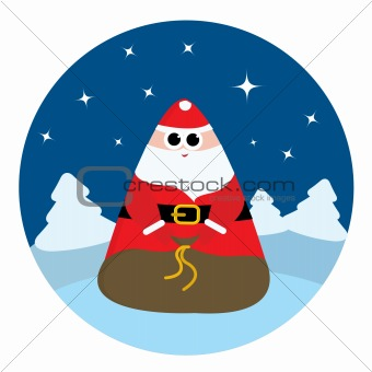 Abstract Santa Claus with bag