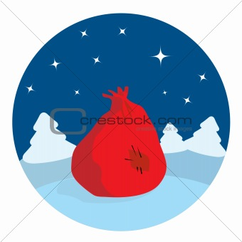 Santa's sack lying in the night forest