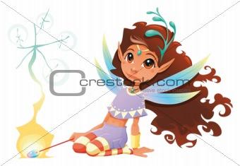 Fairy girl with magic wand.