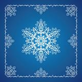 Single detailed snowflake with Christmas frame