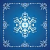 Single detailed snowflake with Christmas frame