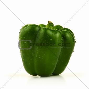 Green sweet pepper on white