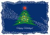 Christmas tree and diamond star greeting card