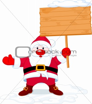 Santa Claus holding board sign