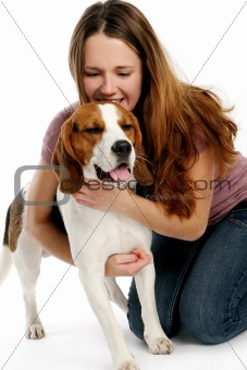 beautiful young woman with dog