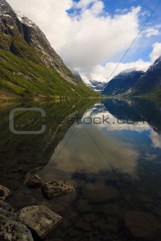 Fjords of Norway with snowy peaks