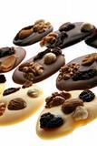 a brown background ot fresh chocolate