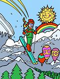 Child Adventure: Skiing off Cliff